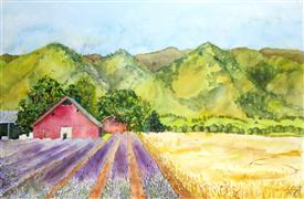 Landscape art,Representational art,watercolor painting,Country Drive