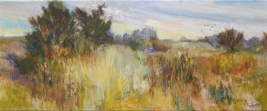 Original art for sale at UGallery.com | Dancing Fields by ANITA L. WEST | $1,075 |  | 12' h x 36' w | ..\art\oil-painting-Dancing-Fields
