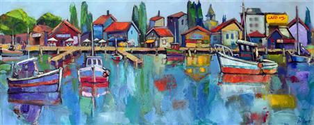 Expressionism art,Seascape art,Representational art,oil painting,Fishing Village
