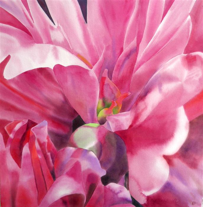 Original art for sale at UGallery.com | Peony by CATHE HENDRICK | $1,100 |  | 30' h x 30' w | ..\art\watercolor-painting-Peony