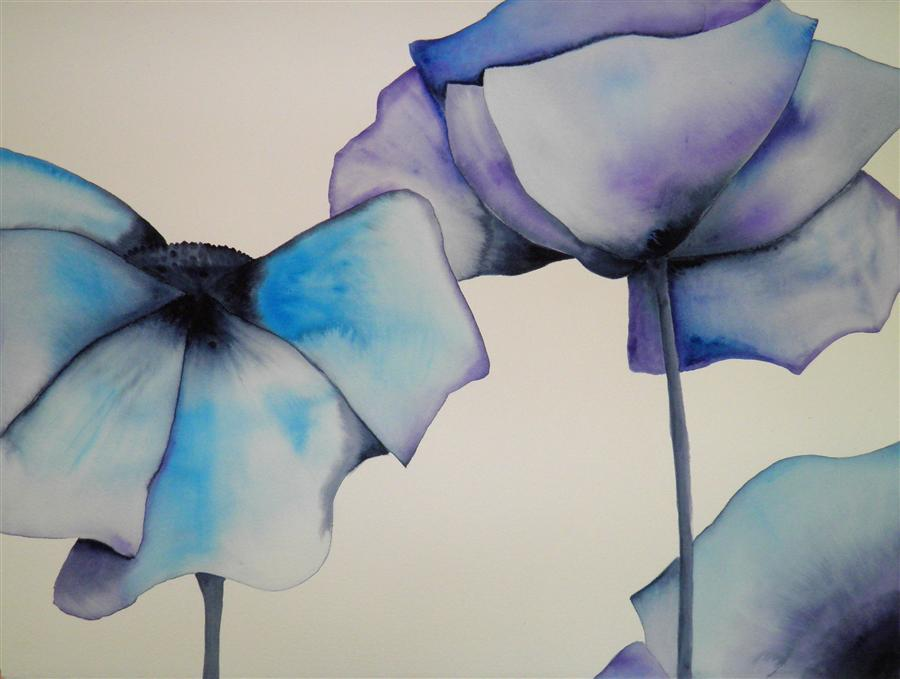 Original art for sale at UGallery.com | Blue Poppy 2 by CATHE HENDRICK | $775 | Watercolor painting | 22' h x 30' w | ..\art\watercolor-painting-Blue-Poppy-2