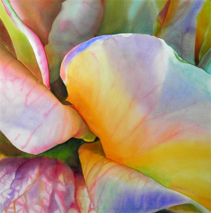 Original art for sale at UGallery.com | Rose Petal by CATHE HENDRICK | $650 | Watercolor painting | 22' h x 22' w | ..\art\watercolor-painting-Rose-Petal