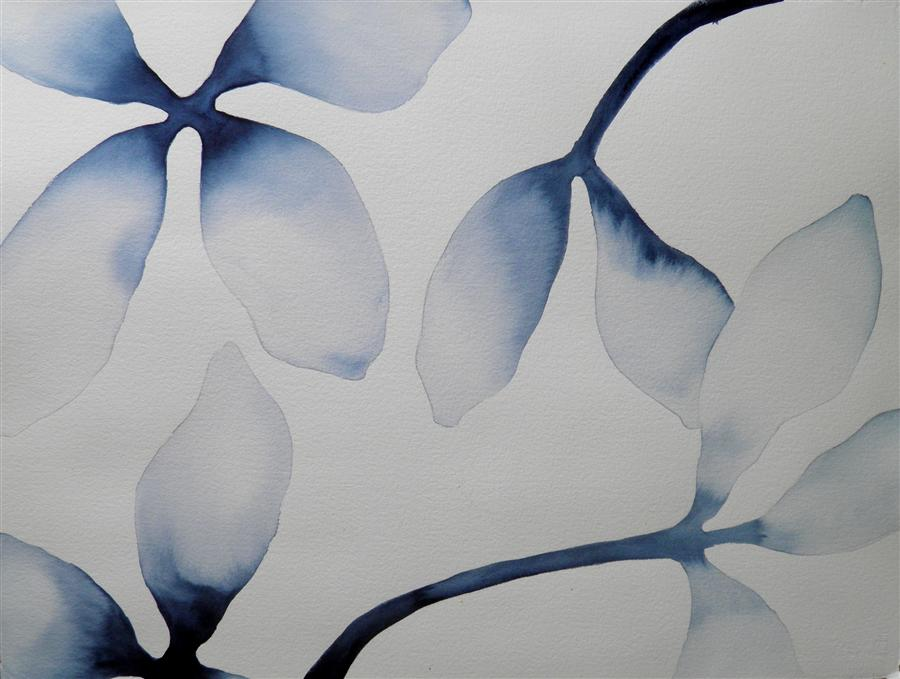 Original art for sale at UGallery.com | Indigo Blossums 2 by CATHE HENDRICK | $775 |  | 22' h x 30' w | ..\art\watercolor-painting-Indigo-Blossums-2