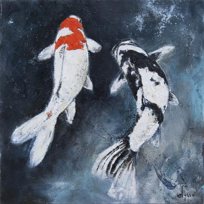 Original art for sale at UGallery.com | Two Koi in Love by ANNE DOSSO-POWELL | $450 |  | 12' h x 12' w | ..\art\oil-painting-Two-Koi-in-Love