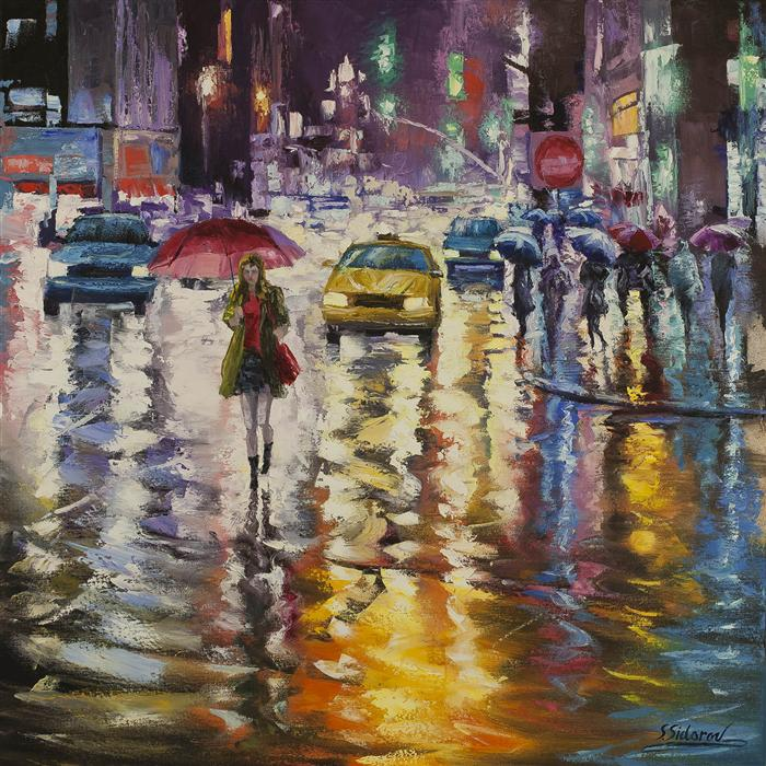 Original art for sale at UGallery.com | City Lights Reflection by STANISLAV SIDOROV | $1,825 | Oil painting | 30' h x 30' w | https://www.ugallery.com/ProductDetail.aspx?ProductID=39562
