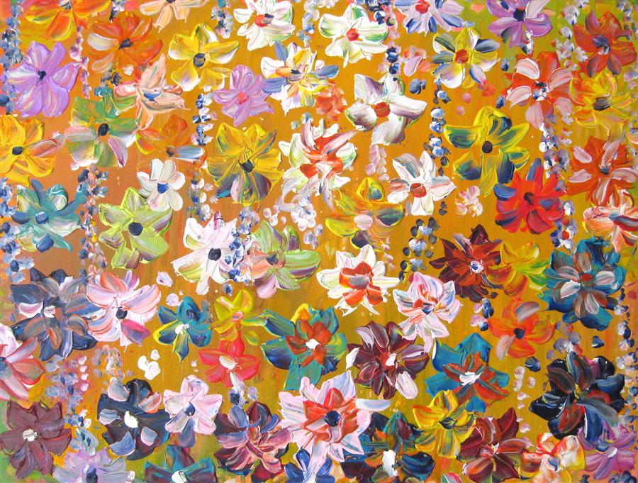 Original art for sale at UGallery.com | Summer Flowers by NATASHA TAYLES | $550 | Acrylic painting | 18' h x 24' w | ..\art\acrylic-painting-Summer-Flowers