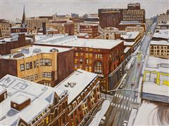 Architecture art,Representational art,oil painting,Winter in Providence