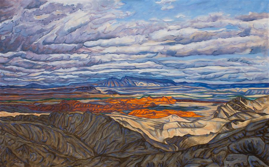 Original art for sale at UGallery.com | Storm Over the Valley of Fire by Crystal DiPietro | $4,000 | oil painting | 30' h x 48' w | ..\art\oil-painting-Storm-Over-the-Valley-of-Fire