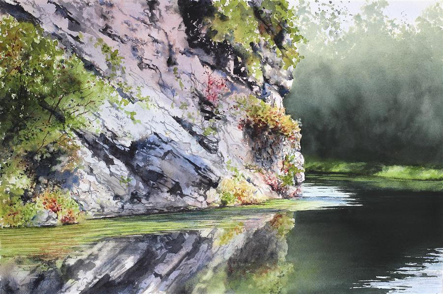 Original art for sale at UGallery.com | Still Waters by JILL E. POYERD | $1,500 | Watercolor painting | 15' h x 22' w | ..\art\watercolor-painting-Still-Waters