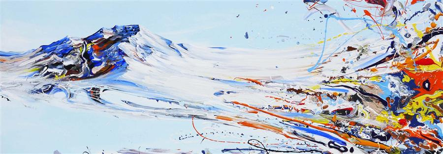 Original art for sale at UGallery.com | Mountain Love by PIERO MANRIQUE | $2,750 | Acrylic painting | 20' h x 60' w | ..\art\acrylic-painting-Mountain-Love