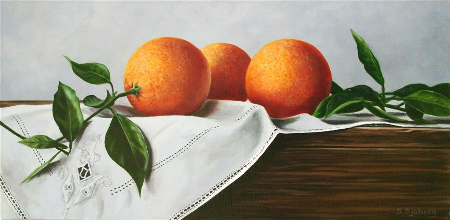 Original art for sale at UGallery.com | Oranges on Linen by SUSAN SJOBERG | $1,050 | Acrylic painting | 12' h x 24' w | ..\art\acrylic-painting-Oranges-on-Linen
