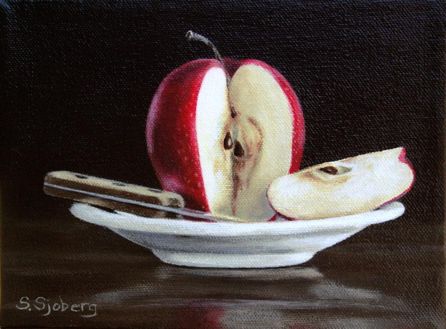 Original art for sale at UGallery.com | Apple Slice by SUSAN SJOBERG | $350 | Acrylic painting | 6' h x 8' w | ..\art\acrylic-painting-Apple-Slice