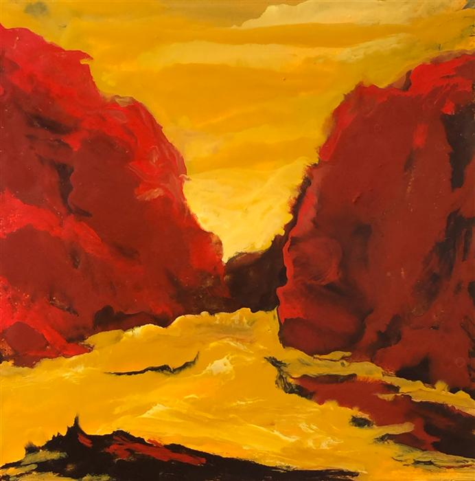 Original art for sale at UGallery.com | Red Canyon Encaustic by MANDY MAIN | $500 |  | 12' h x 12' w | ..\art\encaustic-artwork-Red-Canyon-Encaustic