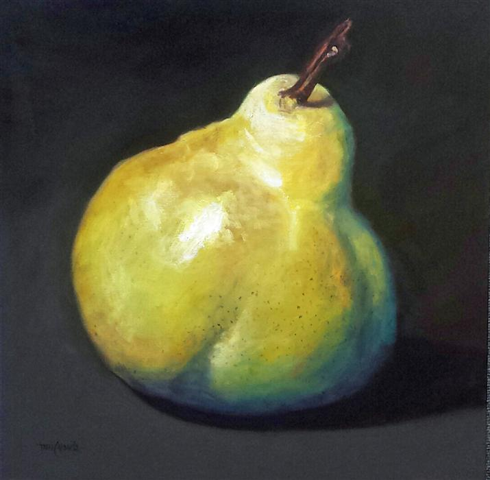 Original art for sale at UGallery.com | Larger Than Life, Yellow Pear by TAMI CARDNELLA | $850 |  | 24' h x 24' w | ..\art\oil-painting-Yellow-Pear