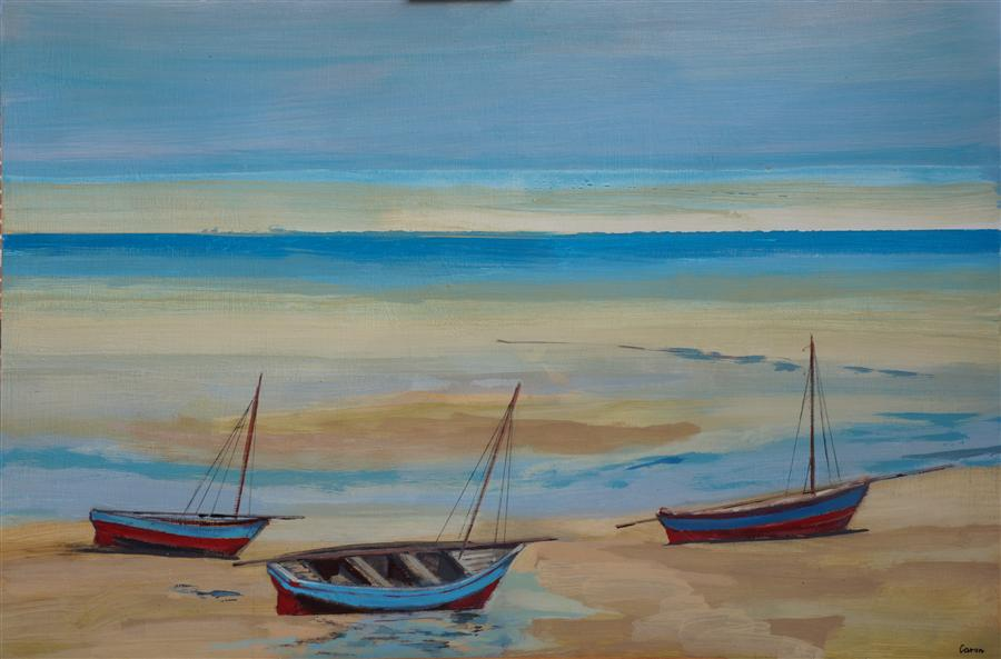 Original art for sale at UGallery.com | A Trio of Dhows by SIDONIE CARON | $2,950 | Acrylic painting | 30' h x 45' w | ..\art\acrylic-painting-A-Trio-of-Dhows