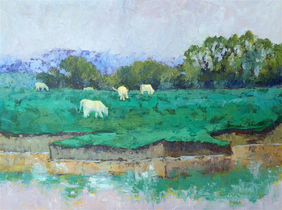 Original art for sale at UGallery.com | Charolais du Rhone by ROXANNE STEED | $1,225 | Oil painting | 18' h x 24' w | ..\art\oil-painting-Charolais-du-Rhone