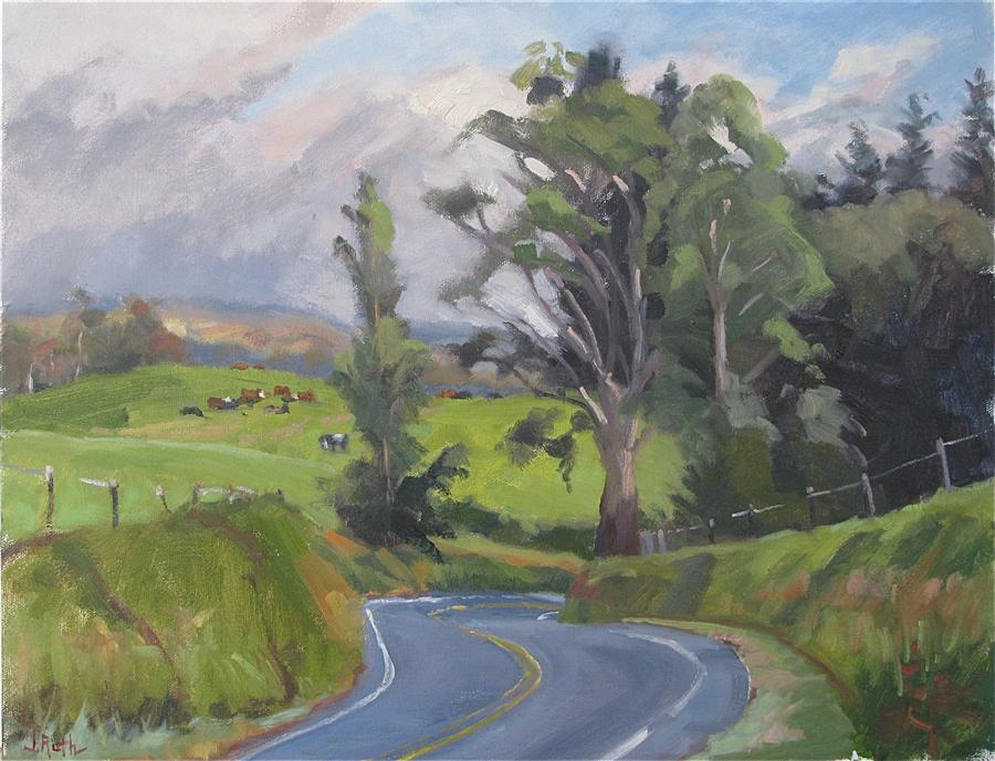 Original art for sale at UGallery.com | Sunday Drive by JAMIE ROTH | $1,150 |  | 14' h x 18' w | ..\art\oil-painting-Sunday-Drive