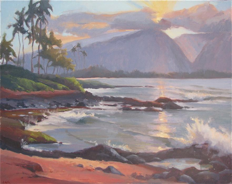 Original art for sale at UGallery.com | North Shore Sunset by JAMIE ROTH | $2,650 |  | 24' h x 30' w | ..\art\oil-painting-North-Shore-Sunset