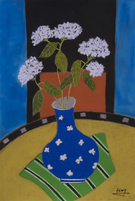 Original art for sale at UGallery.com | White Hydrangea in Blue Vase by FENG BIDDLE | $825 |  | 22.5' h x 17.5' w | ..\art\pastel-artwork-White-Hydrangea-in-Blue-Vase