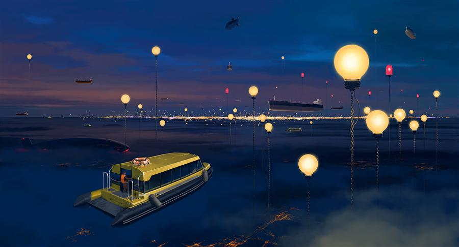 Original art for sale at UGallery.com | City P. Streetlights by ALEX ANDREEV | $1,650 |  | 28' h x 51' w | ..\art\digital-printmaking-City-P-Streetlights