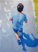 People art,Pop art,Street Art art,Representational art,oil painting,Man Riding Skateboard on Santa Monica Boardwalk