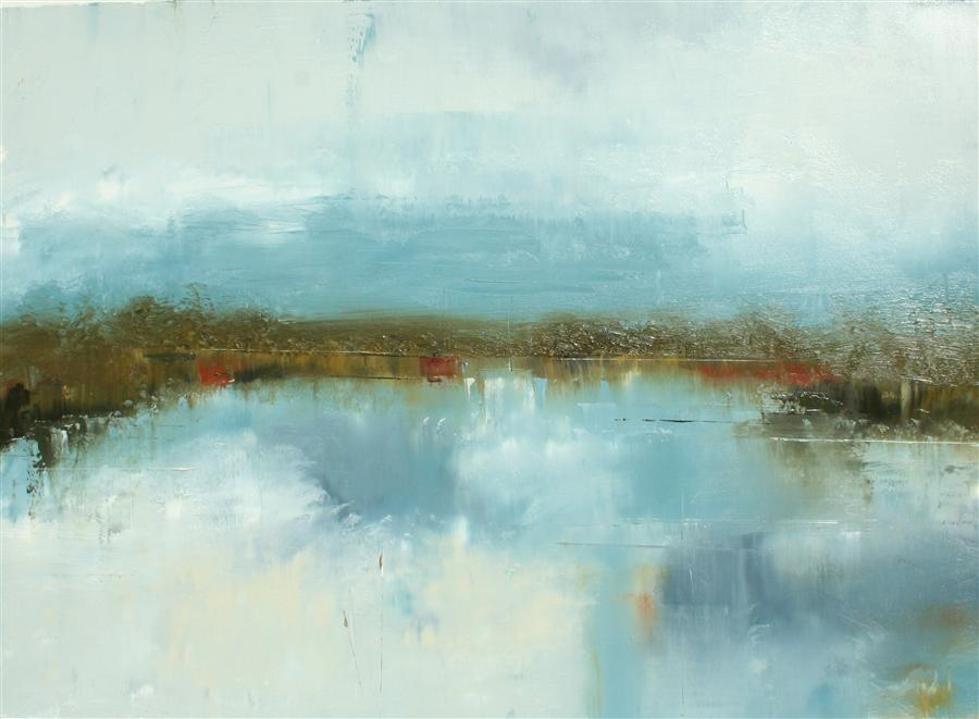 Original art for sale at UGallery.com | On Lake Peachtree by RONDA WAIKSNIS | $650 |  | 19' h x 26' w | ..\art\oil-painting-On-Lake-Peachtree