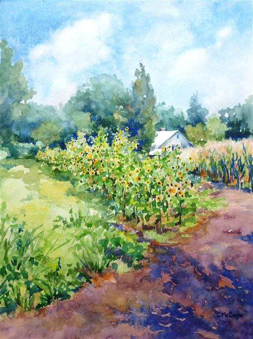Original art for sale at UGallery.com | Sunflower Farm by CATHERINE MCCARGAR | $600 |  | 16' h x 12' w | ..\art\watercolor-painting-Sunflower-Farm
