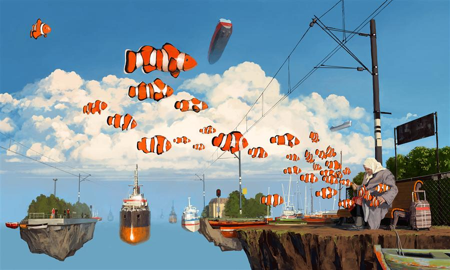 Original art for sale at UGallery.com | 21 km by ALEX ANDREEV | $1,600 |  | 28' h x 46' w | ..\art\digital-printmaking-21-km