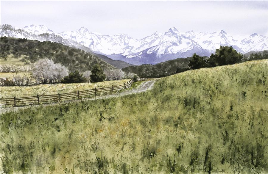 Original art for sale at UGallery.com | Mountain Range I by JILL POYERD | $1,325 |  | 15' h x 23' w | ..\art\watercolor-painting-Mountain-Range-I