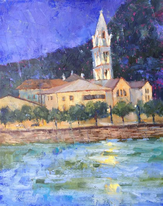 Original art for sale at UGallery.com | Dusk in France, Along the Rhone by ROXANNE STEED | $825 | Oil painting | 20' h x 16' w | ..\art\oil-painting-Dusk-in-France-Along-the-Rhone