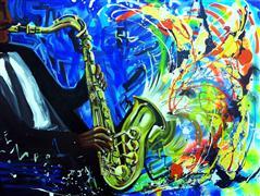Expressionism art,People art,Representational art,acrylic painting,Saxophone Riff