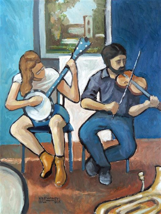 Original art for sale at UGallery.com | Street Musicians, Downtown Charlottesville by ROBERT  HOLEWINSKI | $925 |  | 23' h x 17' w | ..\art\oil-painting-Street-Musicians-Downtown-Charlottesville
