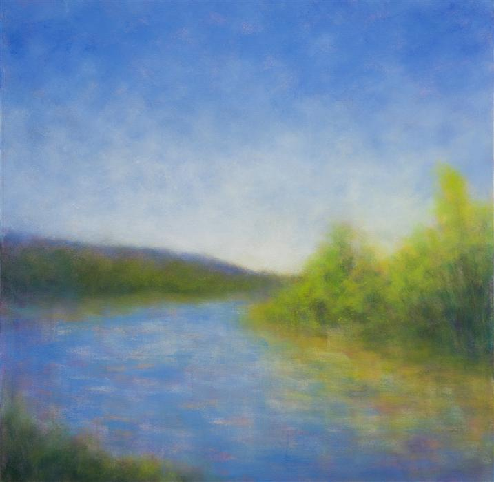 Original art for sale at UGallery.com | Upper Ranch Lake, Sonoma by VICTORIA VEEDELL | $1,725 | Oil painting | 30' h x 30' w | ..\art\oil-painting-Upper-Ranch-Lake-Sonoma