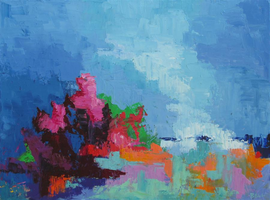 Original art for sale at UGallery.com | Stormy Cay by WELDON BALL | $675 |  | 18' h x 24' w | ..\art\oil-painting-Stormy-Cay