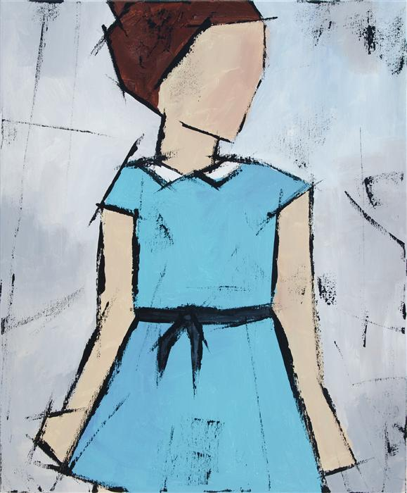 Original art for sale at UGallery.com | Girl in a Blue Dress by TANYA GRABKOVA | $950 |  | 24' h x 20' w | ..\art\acrylic-painting-Girl-in-a-Blue-Dress