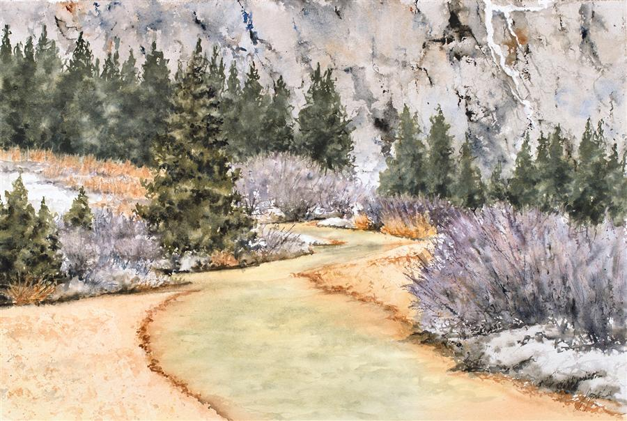 Original art for sale at UGallery.com | Red Mountain Creek: Toxic Beauty? by JILL E. POYERD | $1,275 | Watercolor painting | 15' h x 22' w | ..\art\watercolor-painting-Red-Mountain-Creek-Toxic-Beauty