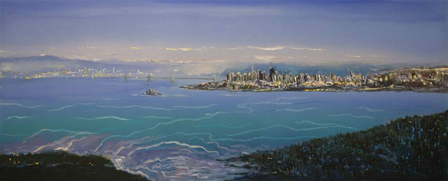 Original art for sale at UGallery.com | San Francisco from Sausalito by YUVAK TULADHAR | $3,075 | Acrylic painting | 24' h x 58' w | ..\art\acrylic-painting-San-Francisco-from-Sausalito