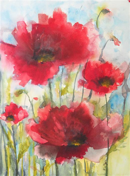 Original art for sale at UGallery.com | Red Poppies XIV by KARIN JOHANNESSON | $425 | Watercolor painting | 15' h x 11' w | ..\art\watercolor-painting-Red-Poppies-XIV
