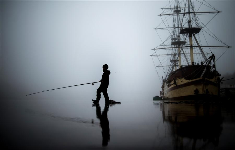 Original art for sale at UGallery.com | Fisherman in Fog by Konstantin Chalabov | $400 | photography | 36' h x 24' w | ..\art\photography-Fisherman-in-Fog