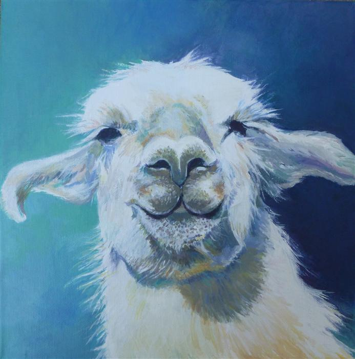 Original art for sale at UGallery.com | Llama by CATHERINE MCCARGAR | $475 |  | 12' h x 12' w | ..\art\acrylic-painting-Llama