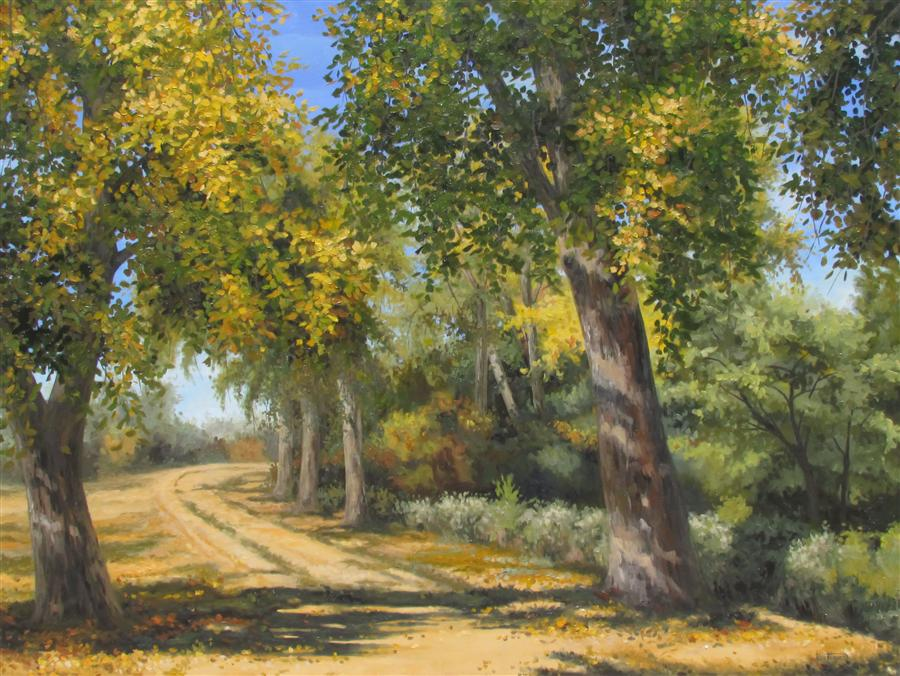 Original art for sale at UGallery.com | Fall Walk by RON KENYON | $2,500 |  | 30' h x 40' w | ..\art\oil-painting-Fall-Walk