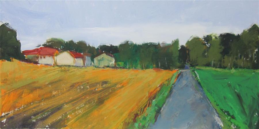 Original art for sale at UGallery.com | Dordogne Farm by JANET DYER | $975 |  | 12' h x 24' w | ..\art\acrylic-painting-Dordogne-Farm