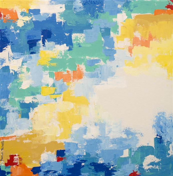 Original art for sale at UGallery.com | San Francisco in Yellow and Blue by YUVAK TULADHAR | $1,100 | Acrylic painting | 24' h x 24' w | ..\art\acrylic-painting-San-Francisco-in-Yellow-and-Blue