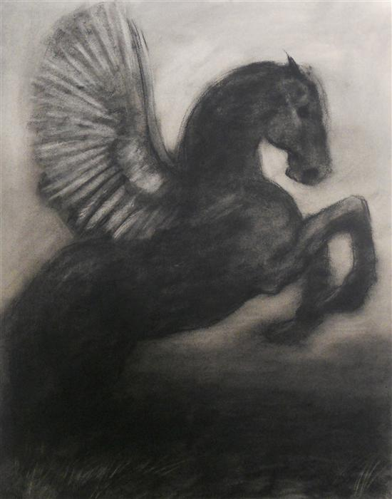 Original art for sale at UGallery.com | Black Pegasus by DREW MCSHERRY | $675 | Charcoal drawing | 25' h x 19' w | ..\art\charcoal-drawing-Black-Pegasus