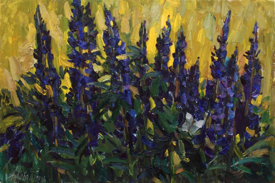 Original art for sale at UGallery.com | Lupins by JULIYA ZHUKOVA | $1,325 |  | 15.7' h x 23.6' w | ..\art\oil-painting-Lupins