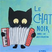 Animals art,Representational art,Primitive art,acrylic painting,Le Chat Noir avec un Accordeon