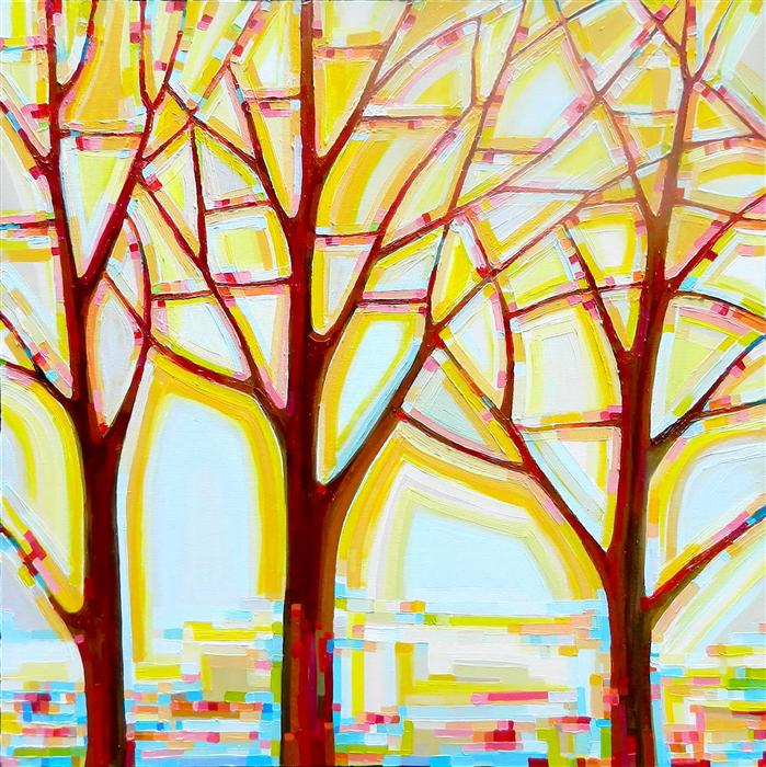 Original art for sale at UGallery.com | Tree Song No. 14 Autumn Tree by KRISTI TAYLOR | $2,775 | Acrylic painting | 36' h x 36' w | ..\art\acrylic-painting-Tree-Song-No-14-Autumn-Tree