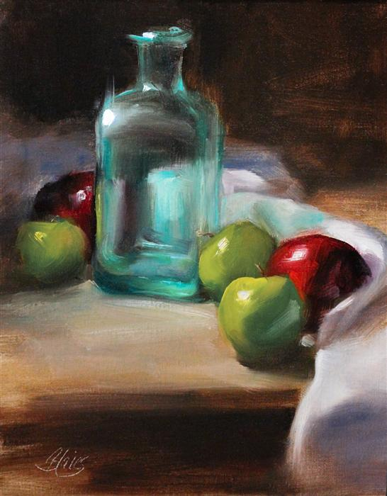 Original art for sale at UGallery.com | Vintage Glass and Apples by PAMELA BLAIES | $825 |  | 14' h x 11' w | ..\art\oil-painting-Vintage-Glass-and-Apples
