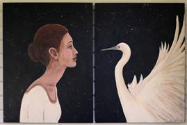 Fantasy art,Animals art,People art,Representational art,Vintage art,acrylic painting,Close Encounter
