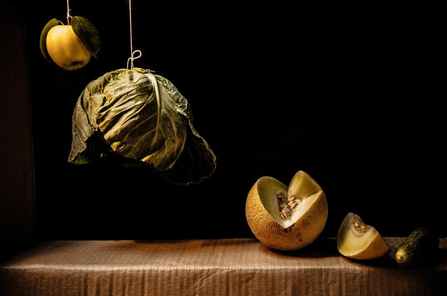 Original art for sale at UGallery.com | Still Life with Quince, Cabbage, Melon and Cucumber by Alicja Brodowicz | $325 | photography | 30' h x 20' w | ..\art\photography-Still-Life-with-Quince-Cabbage-Melon-and-Cucumber
